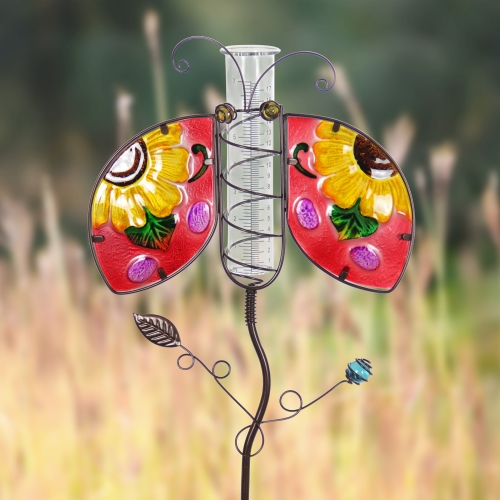 Exhart Ladybug Rain Gauge Garden Stake Hand Painted, Made of Glass and Metal