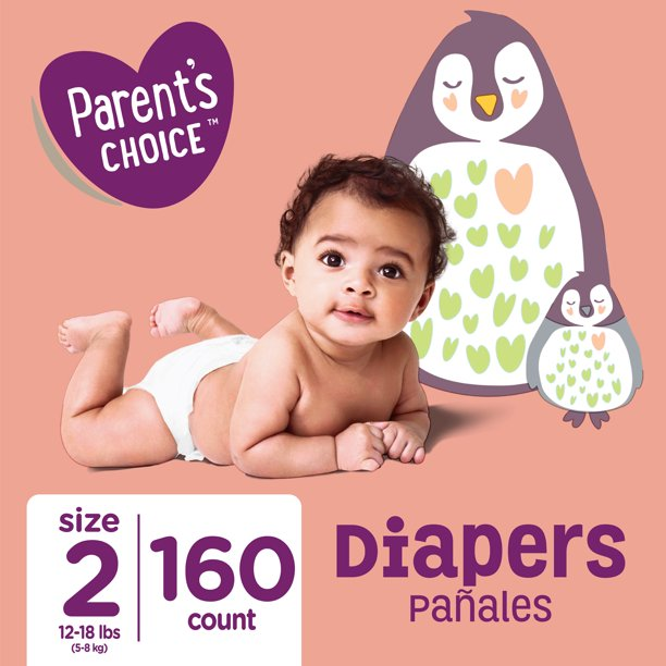 Parent's Choice Diapers, Size 2, 160 Diapers