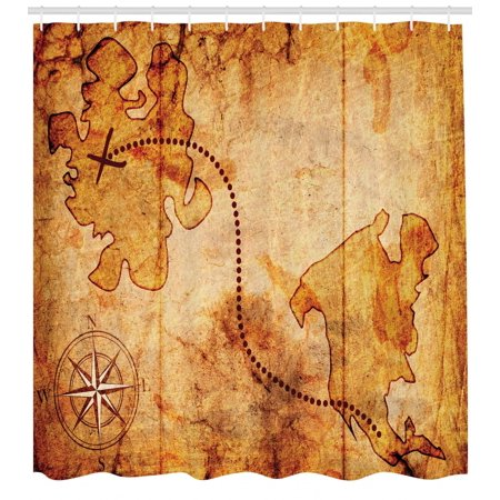 Treasure Hunt Map (Compass Shower Curtain, Bohemian Style Treasure Hunt Map with Small Compass Paint on It Manuscript Atlas Finding, Fabric Bathroom Set with Hooks, Tan, by)