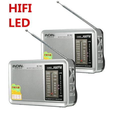 2 Pack INDIN BC-R90 LED HIFI Mini Portable AM / FM Pocket Radio Telescopic Antenna World Receiver Music Player W/ Stereo Speaker Jack 3.5mm Earphone Jack Gift (Halloween Music Playlist Radio)