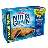 Kellogg's Nutri Grain Blueberry Soft Baked Breakfast Bars Value Pack 1.3 oz 16 ct