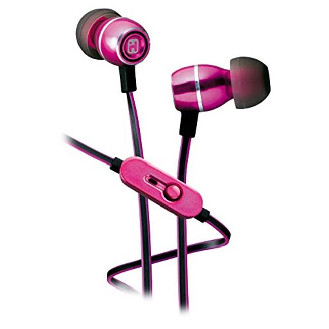 iHome IB18P Noise Isolating Metal Earphones With Mic, Pink