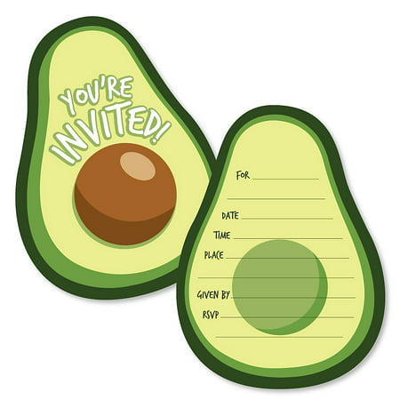 Hello Avocado - Shaped Fill-In Invitations - Fiesta Party Invitation Cards with Envelopes - Set of 12 - Invitaciones Para Fiestas De Halloween
