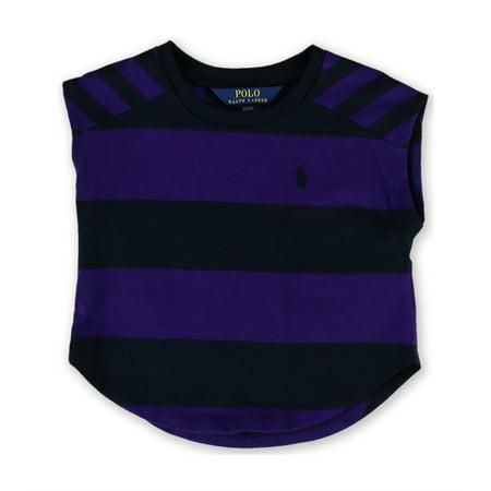 Ralph Lauren Girls Striped Jersey Graphic T-Shirt, Purple, 4T