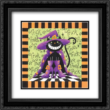 Halloween Cat 2x Matted 20x20 Black Ornate Framed Art Print by P.S. Art Studios - Black Cat Halloween Clip Art