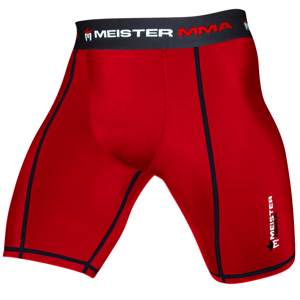 Meister Compression Rush Shorts w/ Cup Pocket - Red - Large