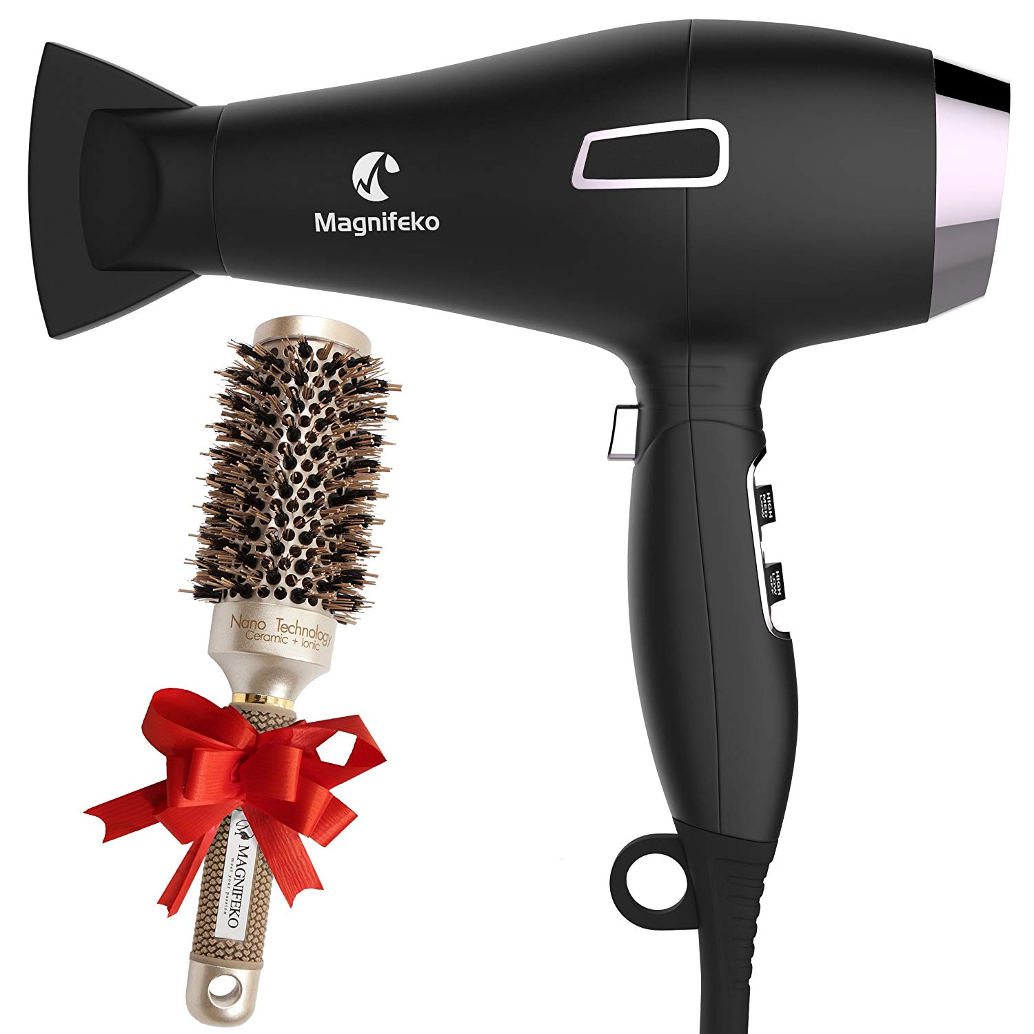 Ionic Hair Dryer with FREE Ceramic Blowdrying Brush | Anti-Frizz blow dryer with Extra-Fast 1875W Motor, ACLI Safety Plug, and Concentrator Nozzle | Professional Hairdryer for Men and Women