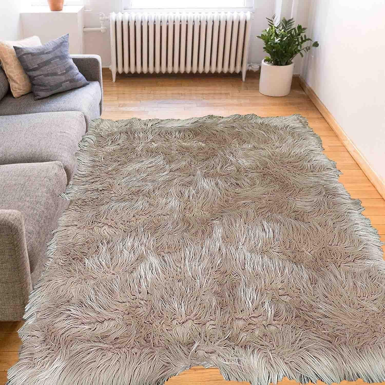La Rug Linens Faux Sheepskin Area Rug 6 X9 Beige Fur