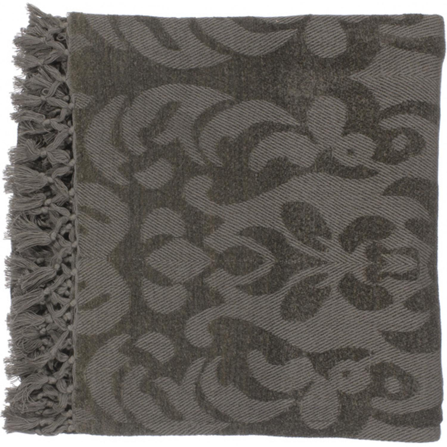 "50"" x 70"" Floral Scroll Dark Plum Gray Viscose Throw Blanket"