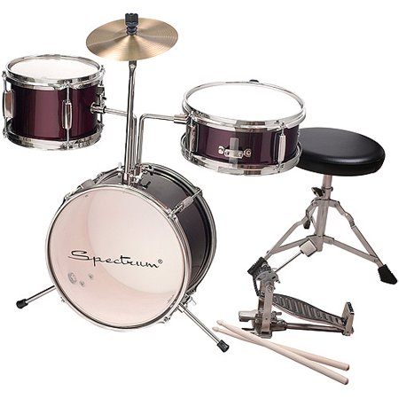 Spectrum AIL 621R 3-Piece Junior Drum Kit, Rockstar Red Five Piece Drum Kit