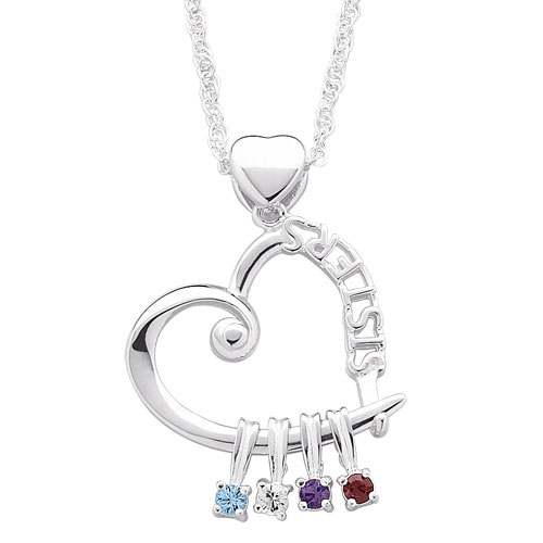 "Personalized ""SISTERS"" Birthstone Pendant"