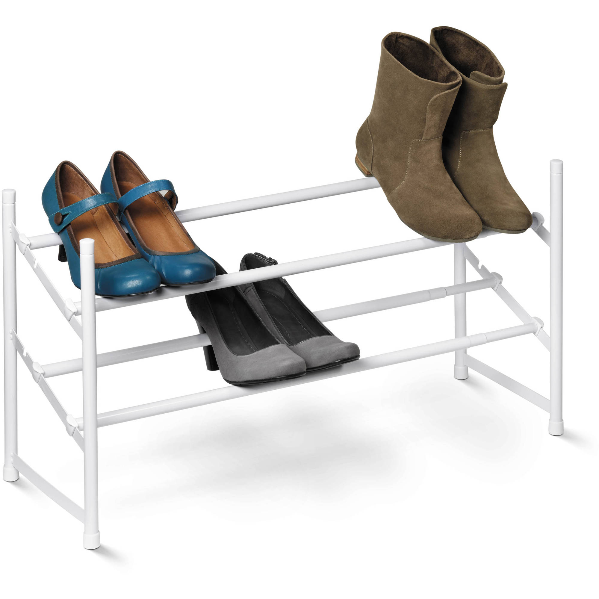 Honey Can Do 2-Tier Steel Expandable Shoe Rack, White by Honey Can Do