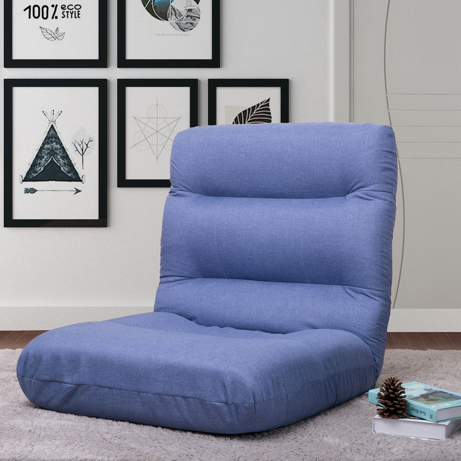 Aoolive Fabric Folding Sofa Chair Floor Chaise Lounge