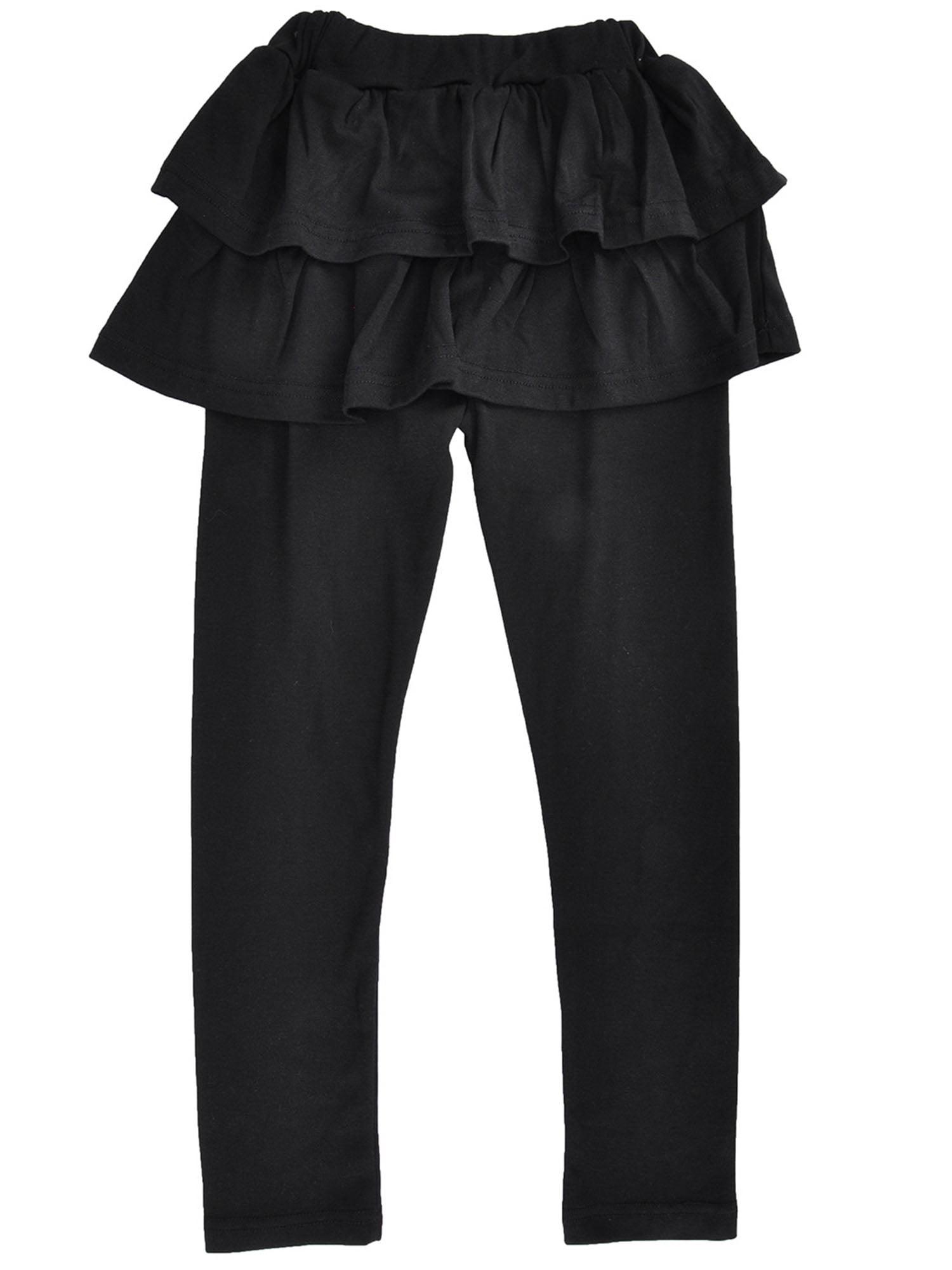 Girls Flouncing Tiered Skirt and Footless Pants,Elastic Waist, Black,4