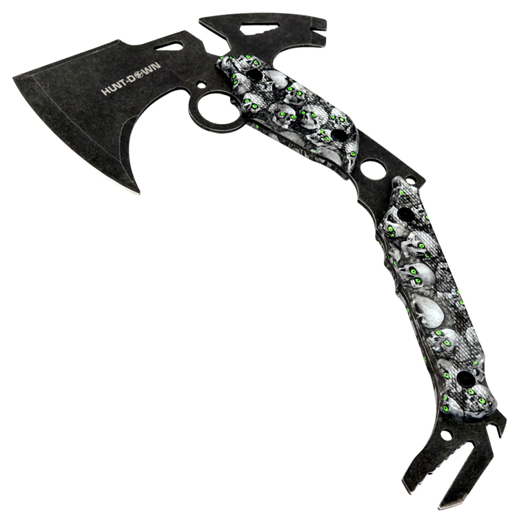 "Hunt-Down 13"" Hunting Survival Axe With Sheath - Skulls Pattern Handle"