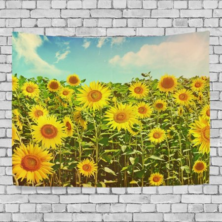 POPCreation Summer Sunshine Sunflower Wall Art Decoration, Blue Sky Cloud Bedroom Living Room Dorm Wall Hanging Tapestry 40x60 inches](Sunflower Decorations)