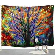VicTsing Fashion Tapestry Colorful Tree Tapestry Wall Hanging Psychedelic Forest with Birds Mandala Hippie Wall Tapestry for Bedroom Living Room Dorm (153*102)
