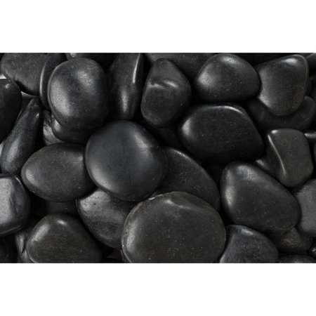 "Margo 20 lb Black Grade A Polished Pebbles, 1"" to 2"""