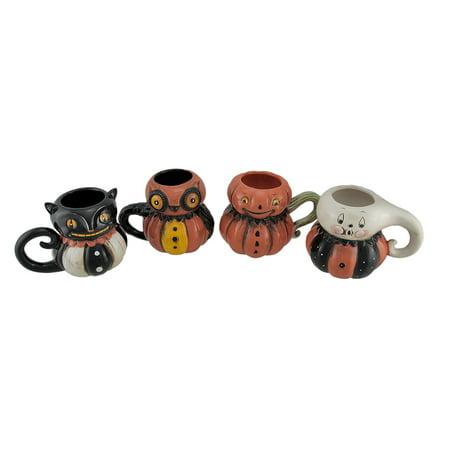 Pumpkin Peeps 4 Piece Set of Vintage Style Halloween Ceramic Mugs - Halloween Entertaining Serveware