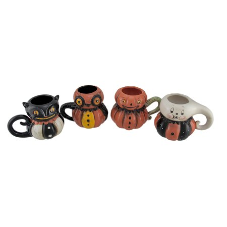 Pumpkin Peeps 4 Piece Set of Vintage Style Halloween Ceramic Mugs