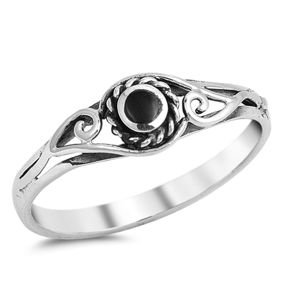 bali swirl simulated black onyx promise ring sizes 4 5 6