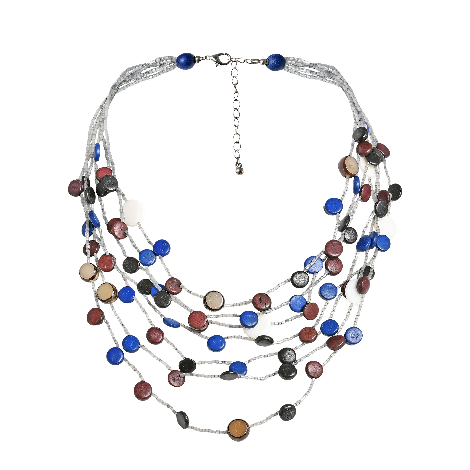 Coco Palm Wood and Shell Circle Cascade Multistrand Necklace