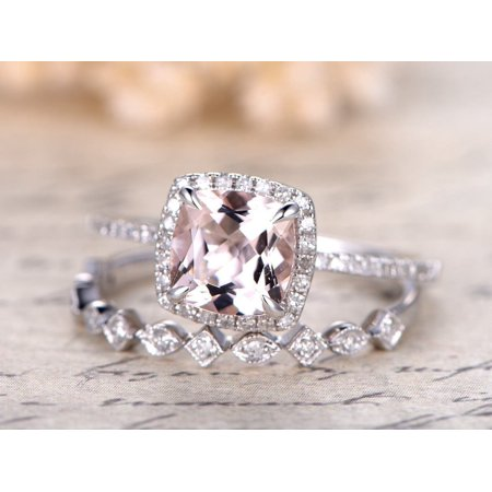 Beautiful 2 Carat Cushion cut Real Morganite and Diamond Bridal Wedding Ring Set with Engagement Ring and Wedding Band in 18k Gold Over (2 Carat Cushion Cut Diamond Actual Size)