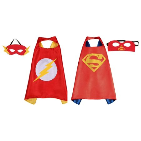 Flash & Red Superman Costumes - 2 Capes, 2 Masks with Gift Box by Superheroes - Flash Mask