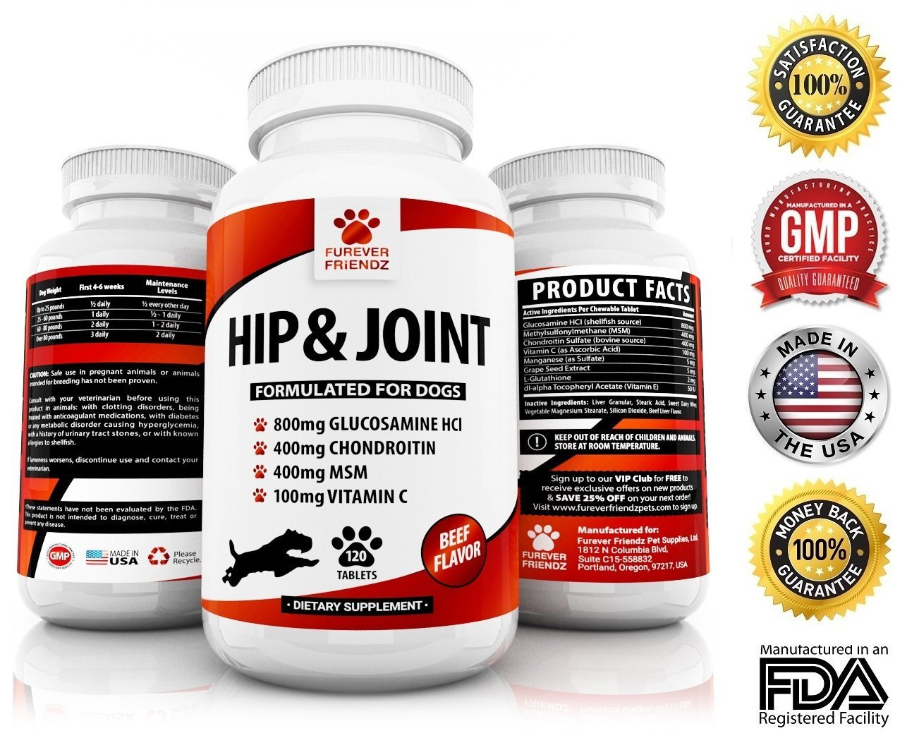 Advanced Hip & Joint Supplement for Dogs Contains All Natural Glucosamine  Chondroitin MSM Lecithin Yucca and Vitamins in 200-Count Chicken & Liver