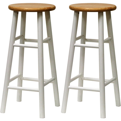 "Beech Wood Bar Stools 30"", Set of 2, White and Natural"