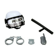 Police Officer Helmet Costume with Plastic Handcuffs, Baton, Badge, and Radio Pretend Play Set for Kid's, Children, Toddlers