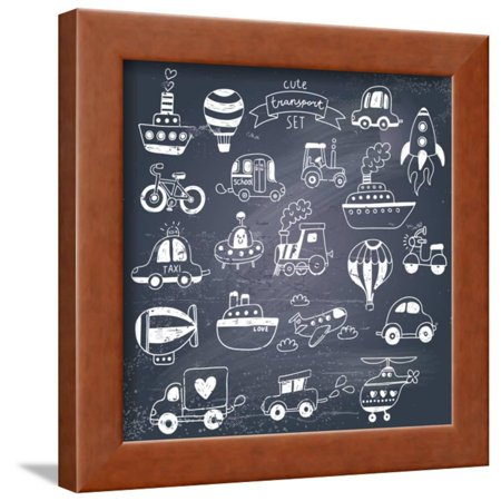 Big Doodled Transportation Icons Collection in Black-And-White. Travel Set with Retro Cars, Air-Bal Framed Print Wall Art By (Jansport Big Student Black And White Doodle)