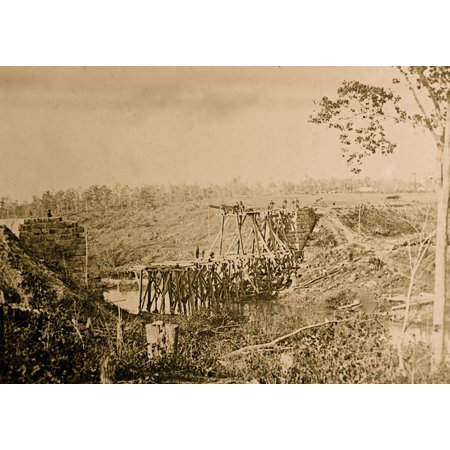 Cedar Run Throw (Catletts Station Va vicinity Federal soldiers rebuilding the Orange & Alexandria Railroad bridge over Cedar Run Poster Print)