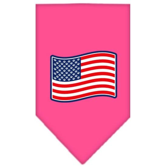 Paws and Stripes Screen Print Bandana Bright Pink Large