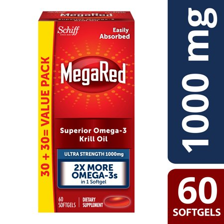 MegaRed Ultra Strength Omega-3 Krill Oil Softgels, 1000 Mg, 60 (Best Krill Oil Supplement)