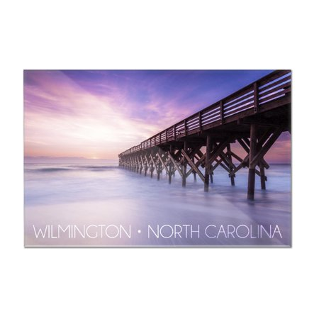 - Wilmington, North Carolina - Violet Sky & Pier - Lantern Press Photography (12x8 Acrylic Wall Art Gallery Quality)