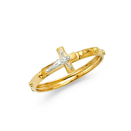 Jewels By Lux 14K Yellow And White Two Tone Gold Rosary Crucifix Cross Religious Eternity Anniversary Wedding Ring Band Size 5](Jewel Tone Wedding)