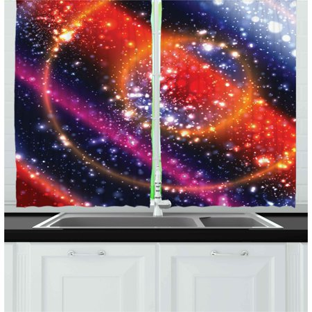 Space Curtains 2 Panels Set, Apocalyptic Cosmos Design Circular Striped Vibrant Galaxy Mystic Sky Solar System, Window Drapes for Living Room Bedroom, 55W X 39L Inches, Multicolor, by