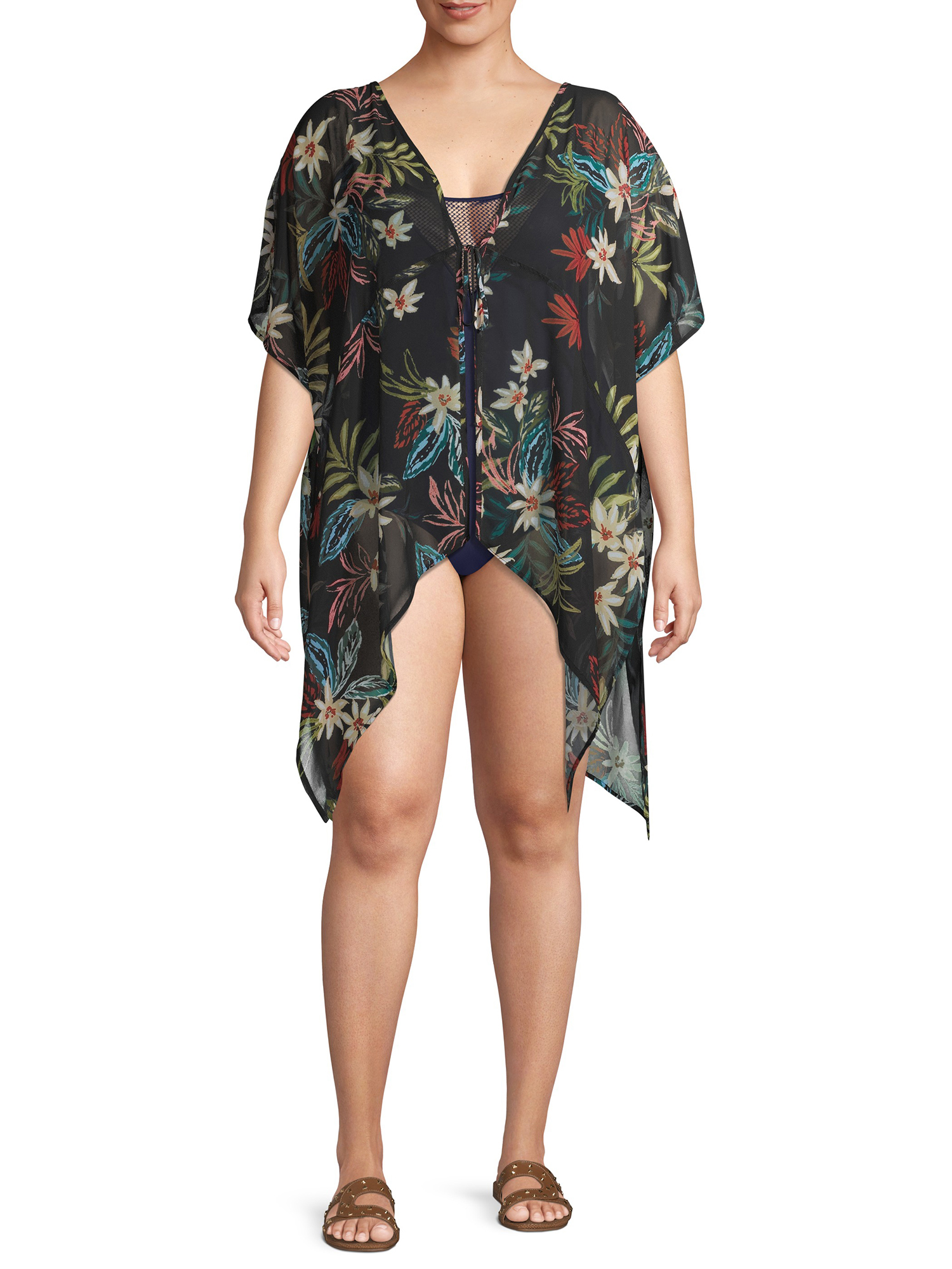 Swimsuits for All Womens Plus Size Nicole Zip Up Cover Up Hoodie