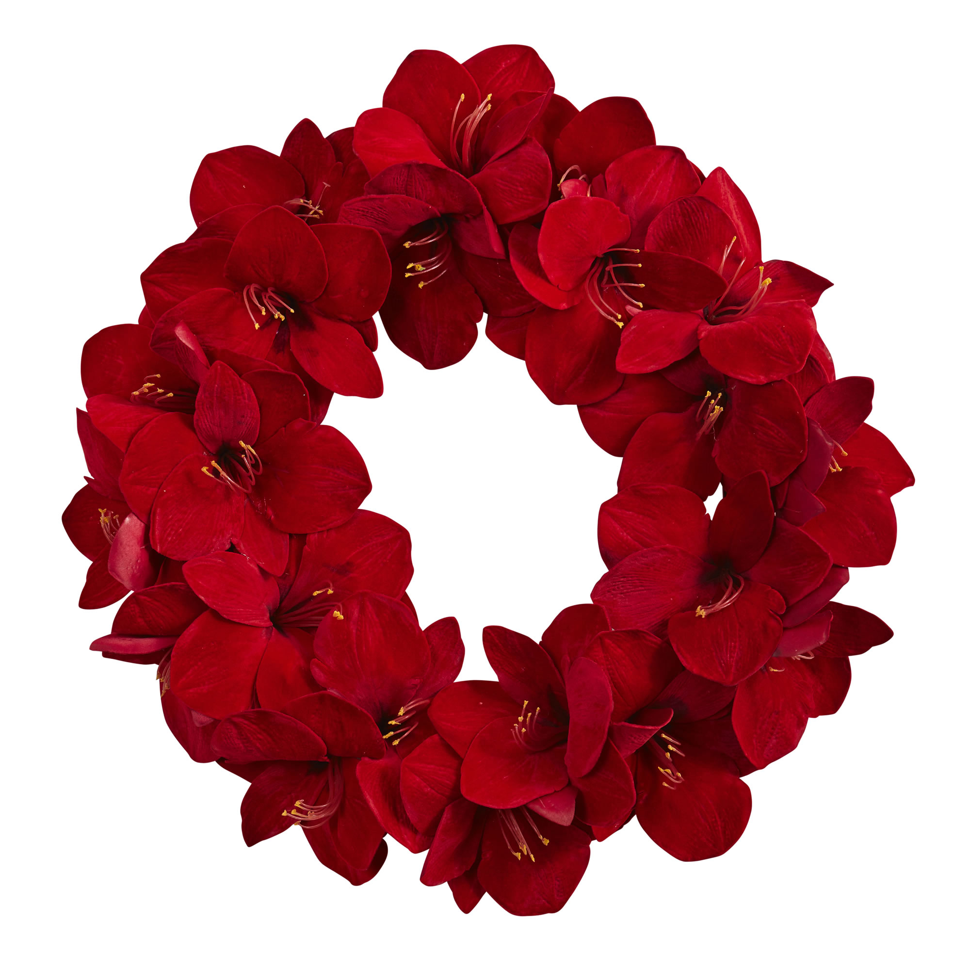 Nearly Natural 22 in. Amaryllis Wreath