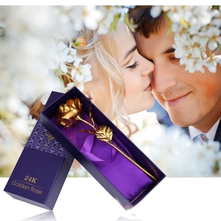Pixnor Golden Plated Long Stem Rose Flower Give Surprise  For Valentine/Mother Day/Wedding Favor With Purple Package,Preferential Gift
