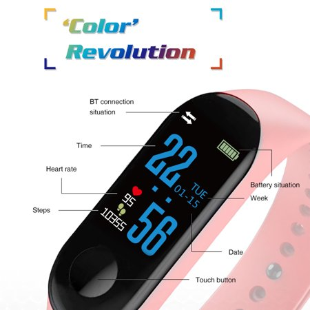 Fitness Tracker Watch, Smart Bracelet Activity Tracker with Pedometer Calorie Sleep Monitor Call/SMS Reminder Sedentary Reminder Blood Pressure Heart Rate for iPhone & Android - image 1 of 8