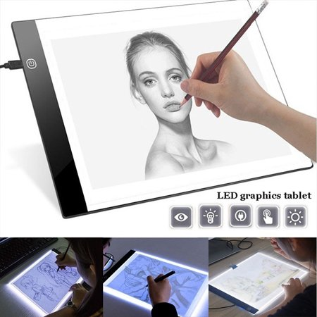 Ultra Thin 3MM LED Artist Drawing Board USB Power Dimmable Tracing Light Box Copy Pad Table Stencil Tattoo Display Light Box Sketching Animation Copy Table Pad,A5(8.26*6.06 inch) (Light Table Drawing)