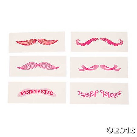 Pink Mustache Tattoos - Finger Mustache Tattoo