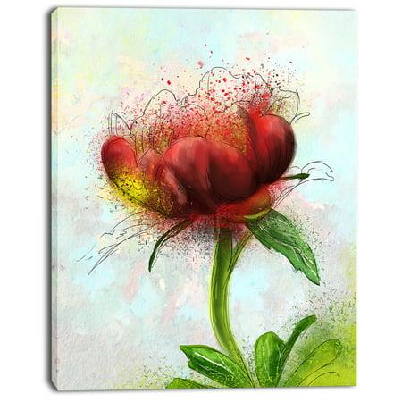 Cute Red Green Watercolor Flower - Floral Canvas Art Print - image 2 de 4