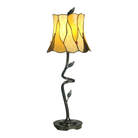 "Dale Tiffany TB11030 Twisted Leaf Single Light 26"" Tall Buffet Style Table Lamp with Tiffany Glass Shade"