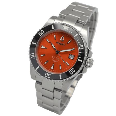 Aquacy 1769 Hei Matau Men's Automatic 300M Orange Dive Watch ETA SWISS MOVEMENT Double Locking Diver Clasp Bracelet Bands (Men Watches Automatic Swiss Made)