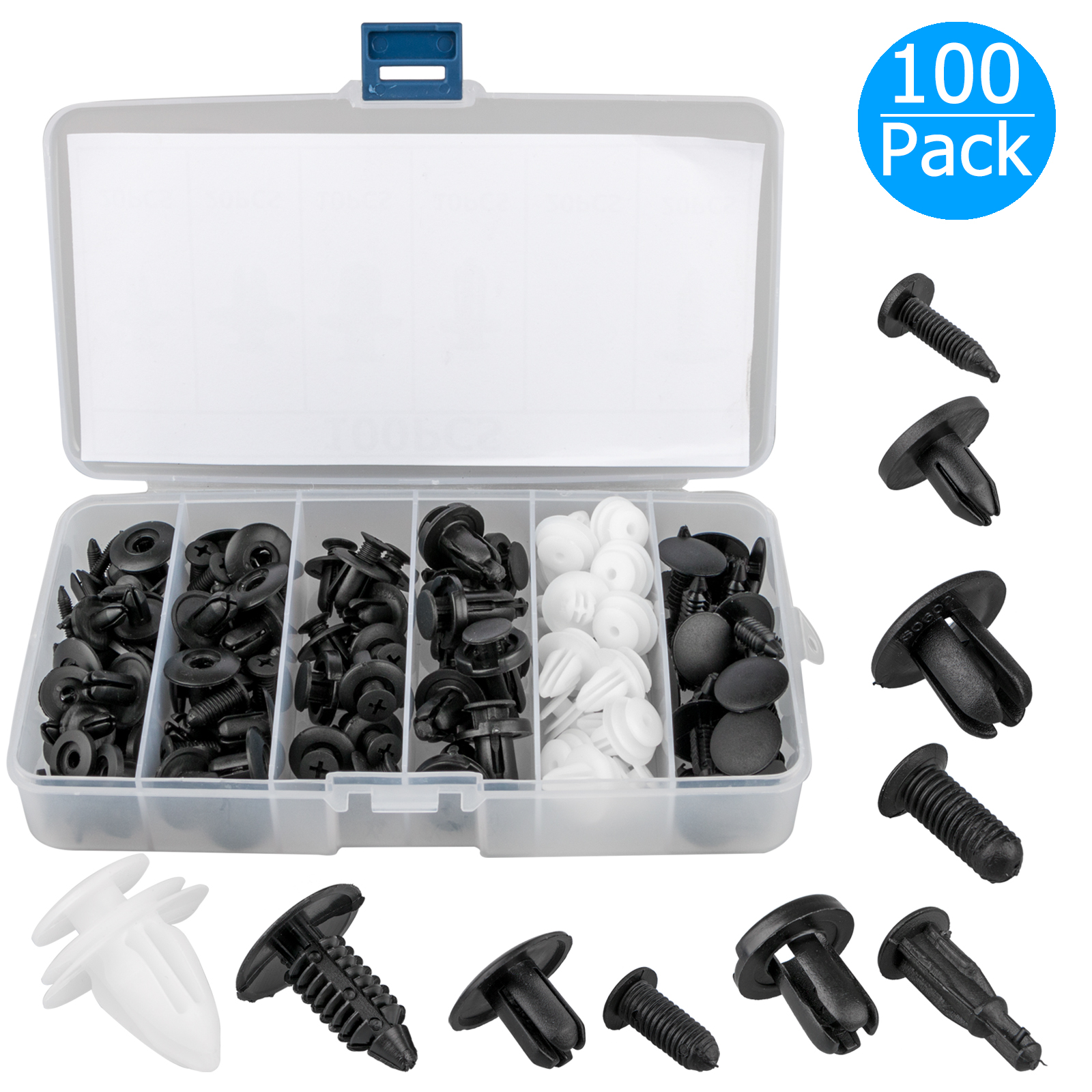 100x Of Box Clip Trim Car Push Pin Rivet Bumper Door Panel Retainer Accessories