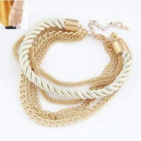 CLEARANCE - Silky Ropes and Chains Bracelet in Ivory Ivory