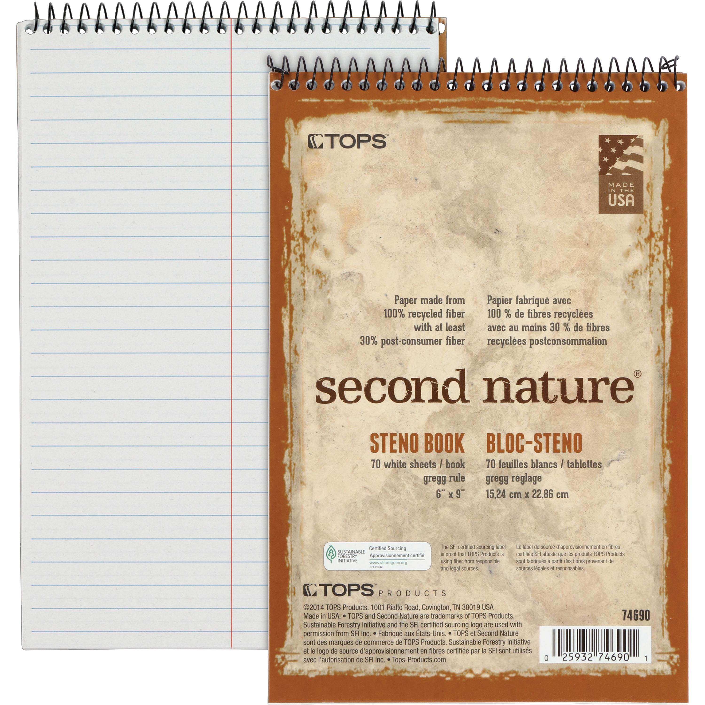 TOPS, TOP74690, Second Nature Spiral Steno Notebook